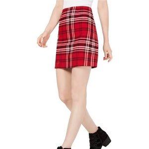 NWT Love Fire Red Plaid Mini Skirt
